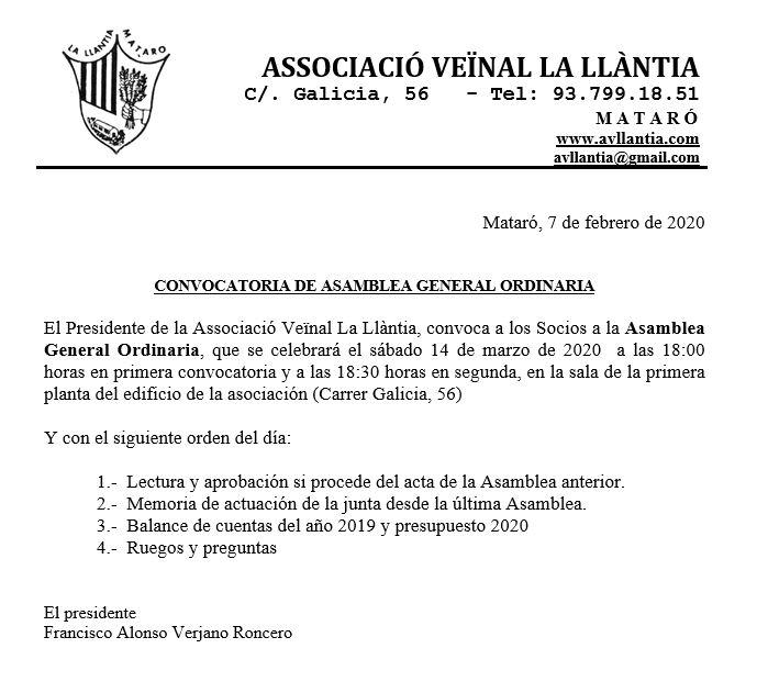 Convocatoria Asamblea Marzo 2020